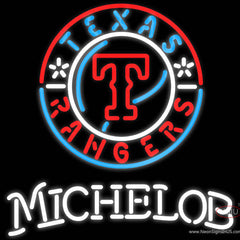 Michelob Texas Rangers MLB Real Neon Glass Tube Neon Sign