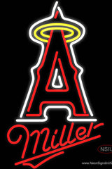 Miller Los Angeles Angels Of Anaheim MLB Real Neon Glass Tube Neon Sign