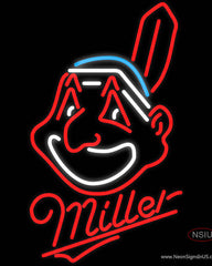 Miller Cleveland Indians MLB Real Neon Glass Tube Neon Sign