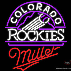 Miller Colorado Rockies MLB Real Neon Glass Tube Neon Sign