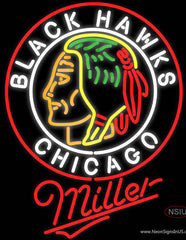 Miller Commemorative  Chicago Blackhawks Real Neon Glass Tube Neon Sign