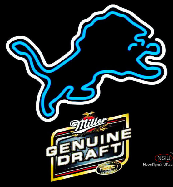 Miller Genuine Draft Detroit Lions NFL Neon Sign