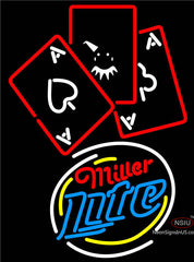 Miller Lite Ace And Poker Neon Sign