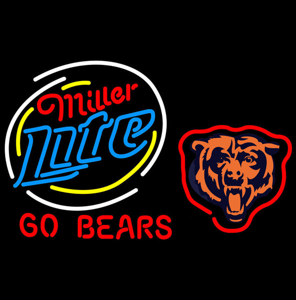 Miller Lite Chicago Bears Neon Beer Signs Giant