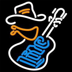 Miller Lite Cowboy Guitar Neon Beer Sign 16x16
