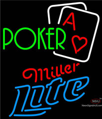 Miller Lite Green Poker Neon Sign