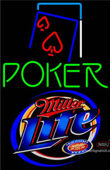 Miller Lite Green Poker Red Heart Neon Sign
