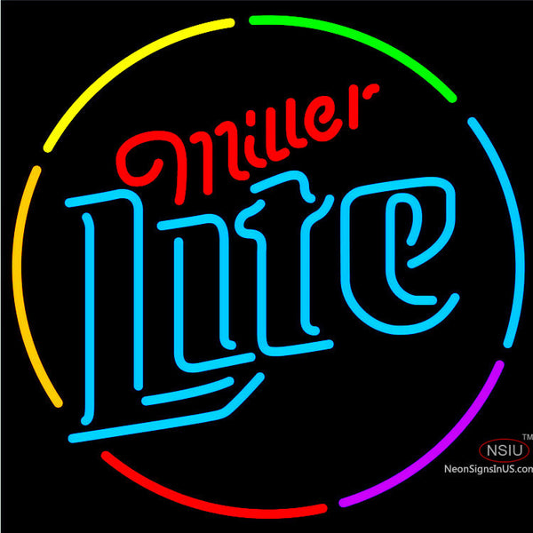 Miller Lite Multi Color Circle Neon Beer Sign x