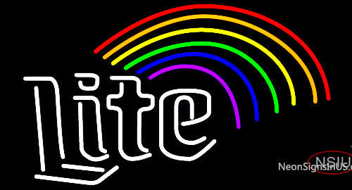 Miller Lite Rainbow Neon Beer Sign