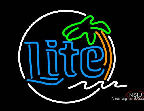 Miller Lite Circle Palm Tree Neon Beer Sign
