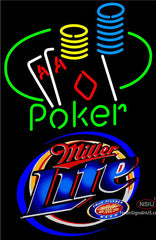 Miller Lite Poker Ace Coin Table Neon Sign