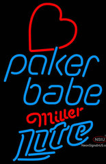 Miller Lite Poker Girl Heart Babe Neon Sign
