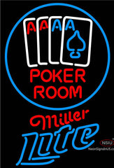 Miller Lite Poker Room Neon Sign