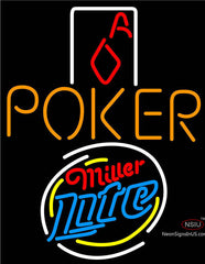 Miller Lite Poker Squver Ace Neon Sign