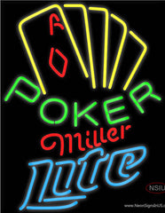 Miller Lite Poker Yellow Real Neon Glass Tube Neon Sign