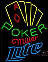 Miller Lite Poker Yellow Neon Sign