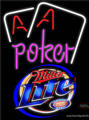 Miller Lite Purple Lettering Red Aces White Cards Real Neon Glass Tube Neon Sign