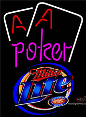 Miller Lite Purple Lettering Red Aces White Cards Neon Sign