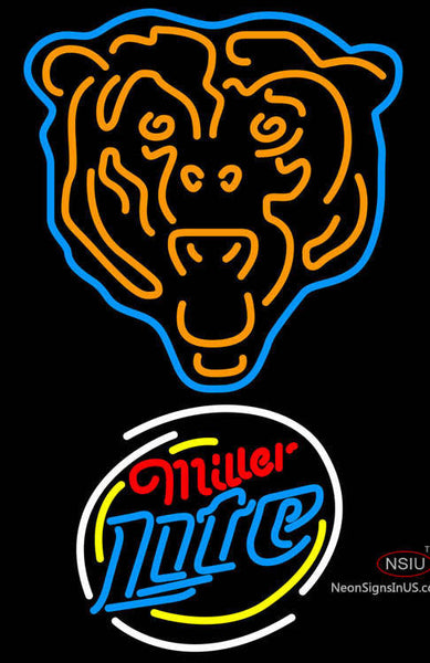 Miller Lite Rounded Chicago Bears NFL Neon Sign