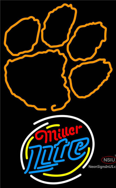 Miller Lite Rounded Clemson UNIVERSITY Tiger Print Neon Sign