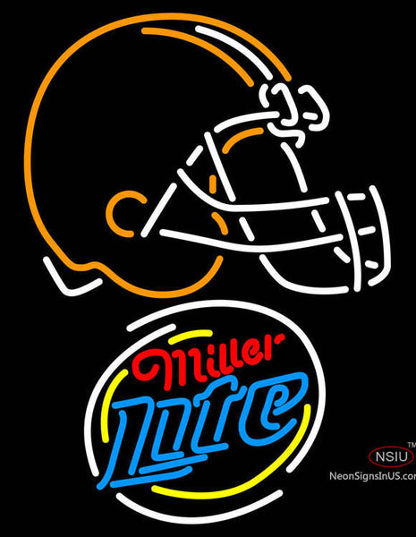 Miller Lite Rounded Cleveland Browns NFL Neon Sign