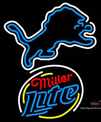 Miller Lite Rounded Detroit Lions NFL Neon Sign