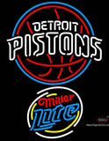 Miller Lite Rounded Detroit Pistons NBA Neon Sign  7
