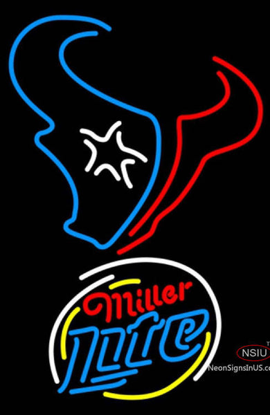 Miller Lite Rounded Houston Texans NFL Neon Sign