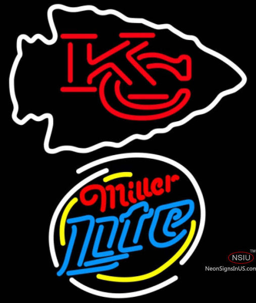 Miller Lite Rounded Kansas City Chiefs NFL Neon Sign