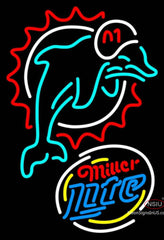 Miller Lite Rounded Miami Dolphins NFL Neon Sign