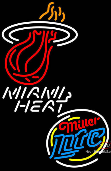 Miller Lite Rounded Miami Heat NBA Neon Sign  7