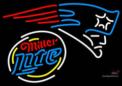 Miller Lite Rounded New England Patriots NFL Neon Sign