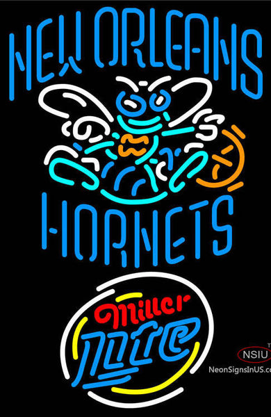 Miller Lite Rounded New Orleans Hornets NBA Neon Sign  7