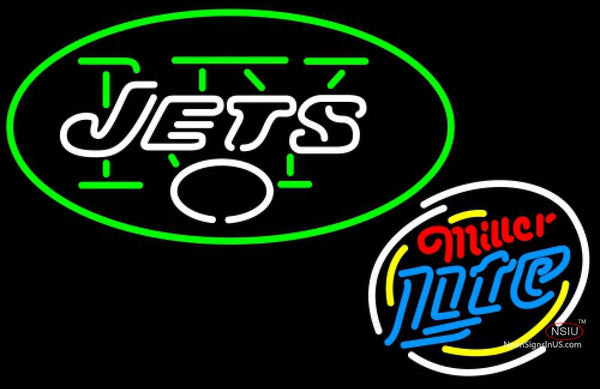 Miller Lite Rounded New York Jets NFL Neon Sign