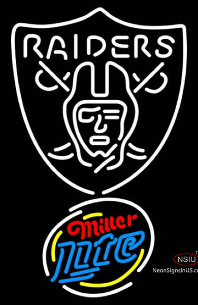 Miller Lite Rounded Oakland Raiders NFL Neon Sign