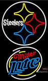 Miller Lite Rounded Pittsburgh Steelers NFL Neon Sign