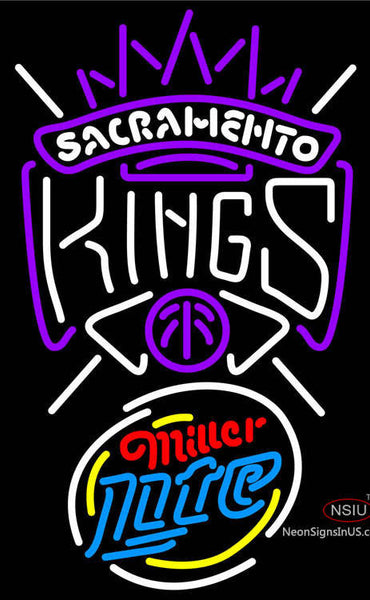 Miller Lite Rounded Sacramento Kings NBA Neon Sign