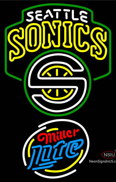 Miller Lite Rounded Seattle Supersonics NBA Neon Sign