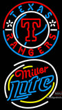 Miller Lite Rounded Texas Rangers MLB Neon Sign