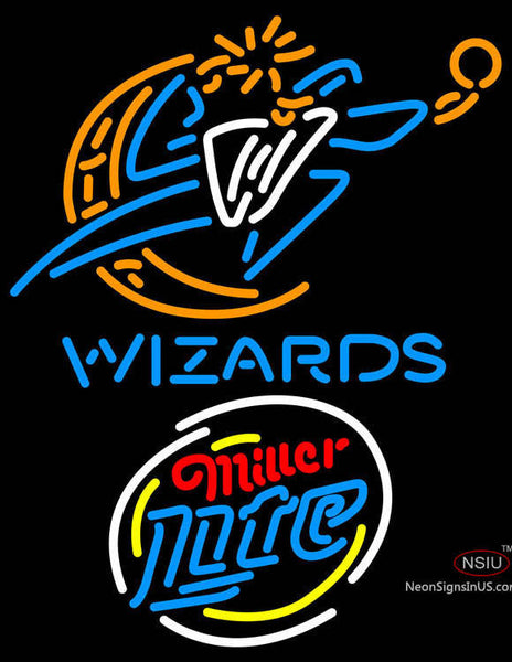 Miller Lite Rounded Washington Wizards NBA Neon Sign