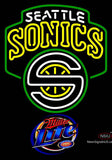 Miller Lite Seattle Supersonics NBA Neon Sign  7