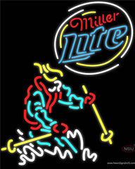 Miller Lite Logo Skier Real Neon Glass Tube Neon Sign