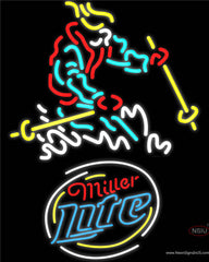 Miller Lite Skier Logo Real Neon Glass Tube Neon Sign