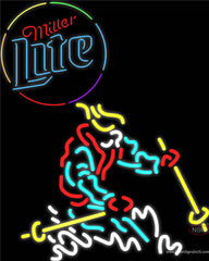 Skier Miller Lite Neon Beer Sign