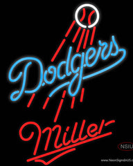 Miller Los Angeles Dodgers MLB Real Neon Glass Tube Neon Sign