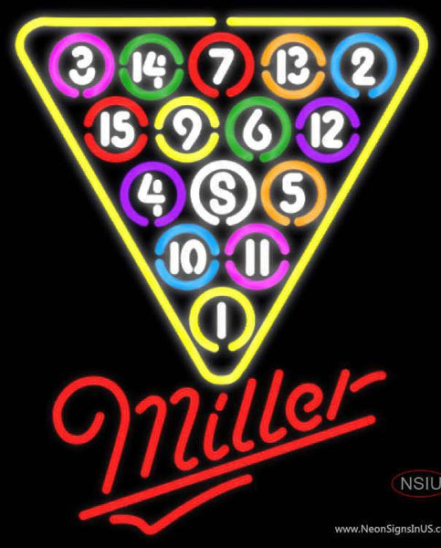 Miller Neon  Ball Billiards Pool Neon Beer Sign