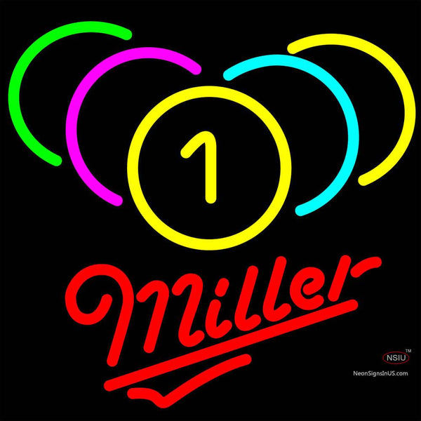 Miller Neon Billiards Rack Pool Neon Beer Sign   x