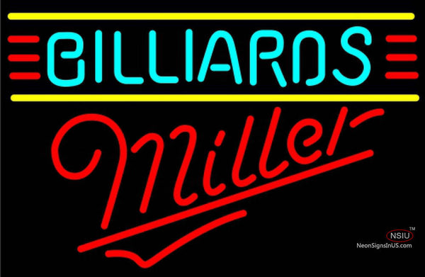 Miller Neon Billiards Text Borders Pool Neon Beer Sign