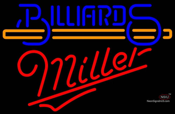 Miller Neon Billiards Text With Stick Pool Neon Beer Sign Giant