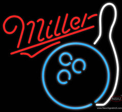 Miller Neon Bowling Neon Blue White Real Neon Glass Tube Neon Sign